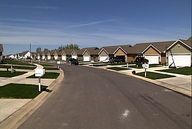 A newly built suburban subdivision.