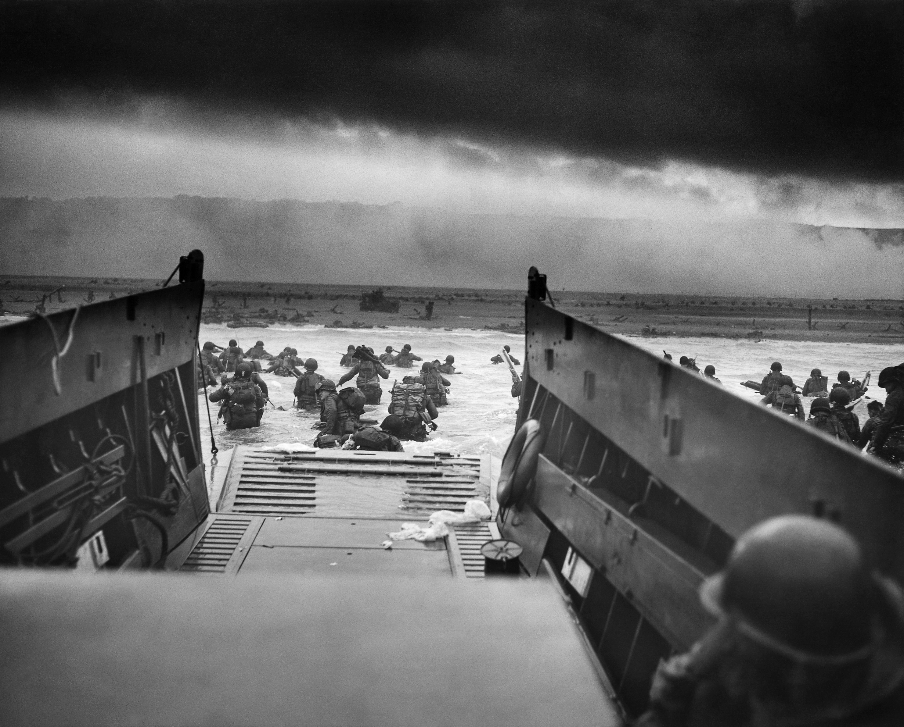American forces landing on the beaches of Normandy on June 6, 1944