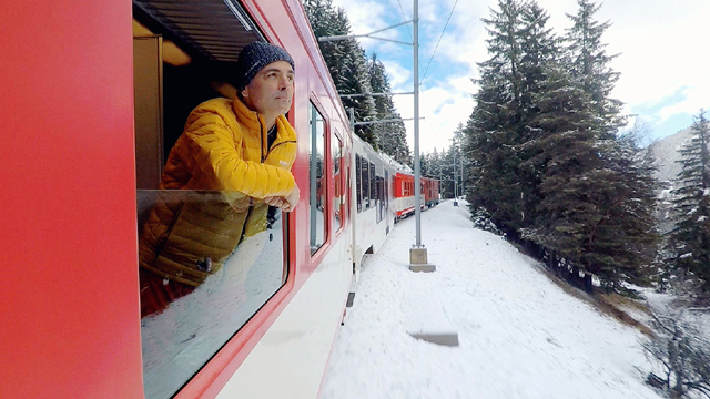 Host Jeff Wilson boards the legendary Glacier Express to frosty fun in the one-hour program.