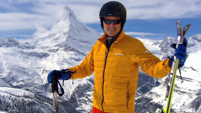 Jeff Wilson readies for skiing in the shadow of the world famous Matterhorn.