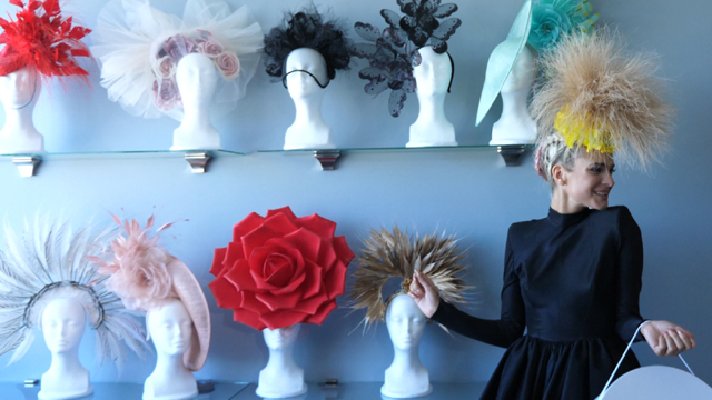 Several hats from the collection of Mexican-American milliner Arturos Rios.