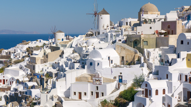 The town of Oia on Santorini