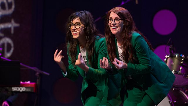 Perfect harmonies and exacting choreography punctuate Megan Mullally (right) and Stephanie Hunt's (left) quirky, vaudevillian-style show.