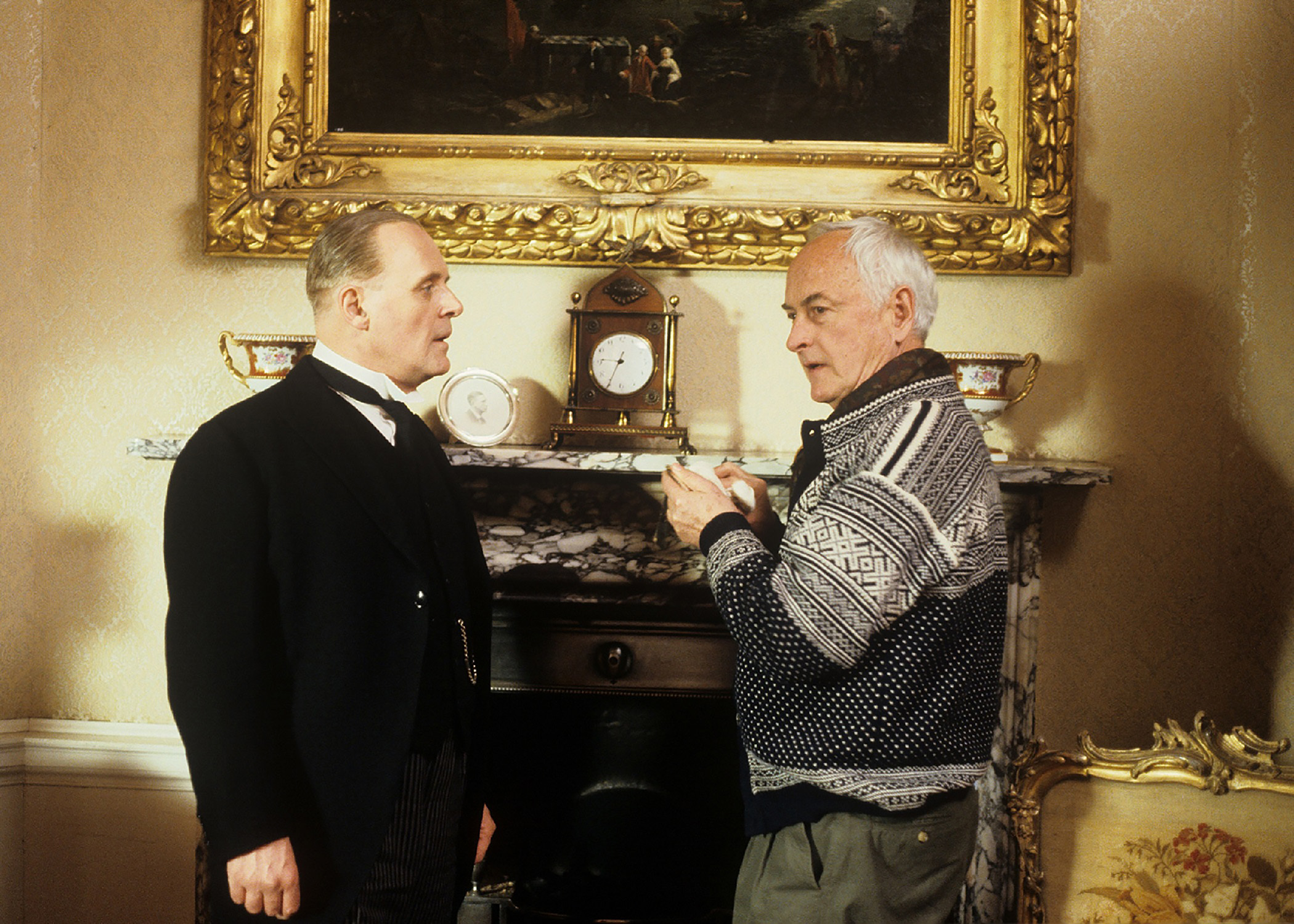 James Ivory with Anthony Hopkins filming 1993's The Remains of the Day. Credit: Derrick Santini